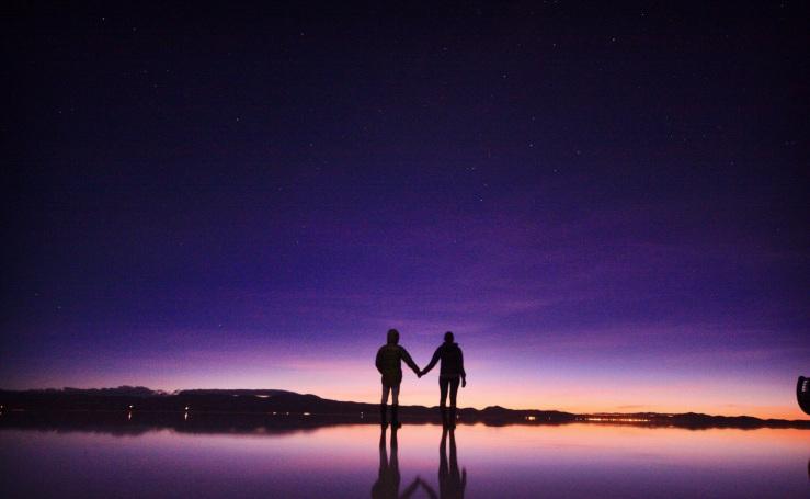 Sunrise at Salar de Uyuni, Bolivia.